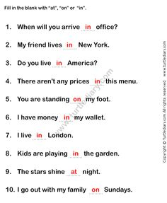 Prepositions Worksheet2 - esl-efl Worksheets - grade-1 Worksheets