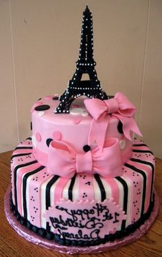 Wonderful Cake design for Josephine's Birthday. MMMM cake or cupcakes? Pretty Cakes, Cute Cakes, Beautiful Cakes, Amazing Cakes, Pink Paris, Crazy Cakes, Fancy Cakes, Paris Rosa, Bolo Paris