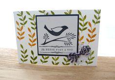 """Carte faite main """"Je pense fort à toi"""" avec un oiseau : Cartes par propaganda"""