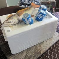 The ice chest is red velvet cake on the top half, the bottom half is a cake dummy. The fish is RKT covered with fondant and hand-painted. Velvet Cake, Red Velvet, Sugar Sheets, Best Knots, Cake Central, Cakes For Men, Piece Of Cakes, Cupcake Cakes, Cupcakes