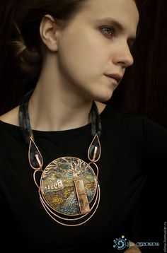 """Kilchurn Caisteal"" copper -felted necklace by Julia Chernopazova"