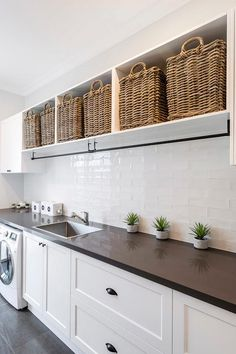 "39 Perfect Laundry Room Designs Ideas For Small Space - OMGHOMEDECOR - Visit our site for even more information on ""laundry room storage diy"". It is a superb location - Laundry Room Shelves, Farmhouse Laundry Room, Small Laundry Rooms, Laundry Room Organization, Laundry In Bathroom, Laundry Hamper, Laundry Storage, Laundry Room Baskets, Laundry Drying Racks"