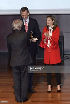 King Felipe VI of Spain and Queen Letizia of Spain deliver acreditations to the new Spain Brand Honorary Ambassadors at the Reina Sofia Museum on March 14, 2017 in Madrid, Spain.