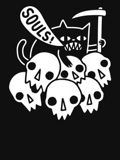 Cat Got Your Soul by ObinSun Available as a tshirt, tank top, baseball tee, hoodie, phone case or art print at DesignByHumans! Cat Got Your Soul Cat Skeleton, Skeleton Shirt, Your Soul, Arte Pop, Buy A Cat, Art Inspo, You Got This, Art Drawings, Graphic Tees