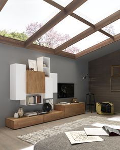 moderne design wohnwand aus in eiche braun mit tv lowboard, Wohnzimmer dekoo