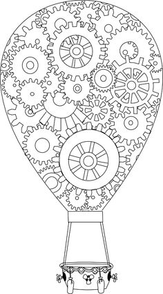 "Realistic Drawing Patterns ""Cogs"" Balloon Pattern - For Those into Steampunk Coloring Book Pages, Printable Coloring Pages, Steampunk, Doodles, Doodle Coloring, Digi Stamps, Copics, Hot Air Balloon, Colorful Pictures"
