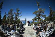 Ceremony venue with views of Lake Tahoe at Blue Sky Terrace in Heavenly Mountain Resort, CA #mountainweddings, Photo by Vernon Wiley Photography, www.wileyphoto.com, http://www.iconicweddings.com/Destinations/Heavenly.aspx