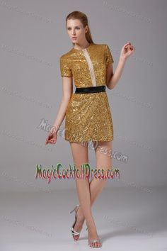 sheath/ Column Silk-like Satin Sequined Fabric Cocktail Party Dress Gold Party Dress, Sequin Cocktail Dress, Womens Cocktail Dresses, Sequin Dress, Gold Dress, Homecoming Dresses Tight, Short Dresses, Formal Dresses, Gold Sequin Shorts
