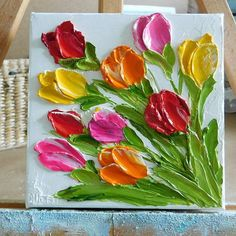 Ready to Ship Impasto Mixed Tulip Oil Painting, Tulip Painting, Small Painting Abstract Tree Painting, Tulip Painting, Simple Acrylic Paintings, Small Paintings, Oil Paintings, Texture Art, Texture Painting, Let's Make Art, Palette Knife Painting