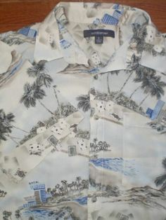 ALOHA SHIRT! MENS large CROFT and BARROW s/s HAWAIIAN card-theme PALM TREES