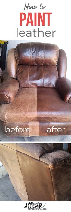 How to fix worn out leather furniture with paint! See the before - faded and cracked from the sun and worn out from being sat in. And see the gorgeous after! It's a major furniture facelift and it's super easy to do! More DIY projects, painting tips and decorating advice from theMagicBrushinc.com