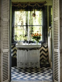 old style vintage bathroom with chevron blue and white tiles. I just adore retro bathrooms!!!