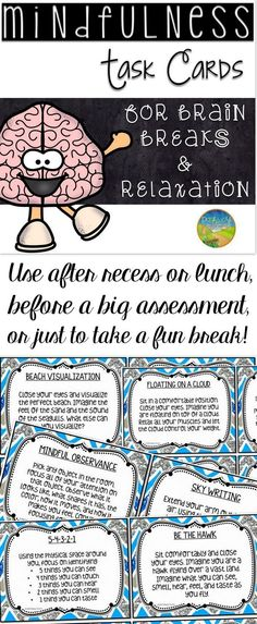 Mindfulness task cards for brain breaks and relaxation. GREAT for transitions or before a big test.
