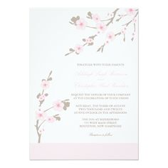 Cherry Blossom Wedding Invitations Pink and Brown
