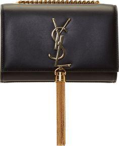 Saint Laurent Black Leather Monogram Small Shoulder Bag
