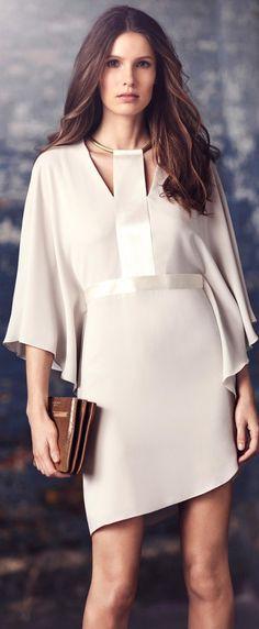 Halston Heritage Fall 2015 | Chic off white dress novafarah.com