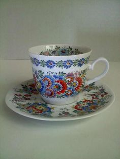 Hand Decorated Tea Cup and Saucer...Made In Opole Poland 1999  *BEAUTIFUL*