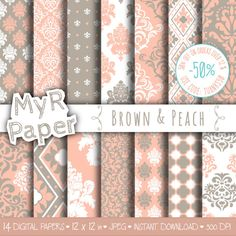 "#damask digital paper: ""Brown & Peach"" digital paper pack with damask backgrounds and #patterns for scrapbooking  50% OFF ON ORDERS OVER 12 $ (OR NEARLY 12 €) USE CODE: THANK... #design #graphic #digitalpaper #scrapbooking"