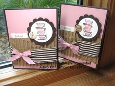 """http://myhappyplace.typepad.com/my_happy_place/tutoria    Recipe: Stamps: Morning Cup    Ink:  jet black stazon, early espresso, blushing bride    Paper: early espresso, blushing bride, watercolor paper    Other: corrugated cardboard, early espresso wide striped ribbon, pink taffeta ribbon, linen thread, neutrals buttons, curly label punch, 1 3/4"""" circle punch, 2 3/8"""" scallop circle punch, stampin' dimensionals, aquapainter"""
