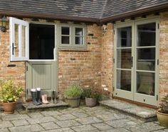 Stable Doors from Timber Windows- front door? Barn Windows, Green Windows, Timber Windows, Timber Door, Windows And Doors, Cottage Door, Cottage Exterior, Bungalow, Front Door Entrance