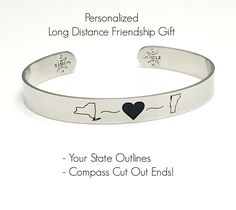 0a41d3222 Long Distance Friendship Gift Idea - Personalized - Custom Engraved  Stainless Steel Cuff Bracelet wirh Compass Cut Out