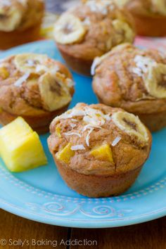 Skinny, Bikini-Friendly Tropical Muffins. Made with bananas, pineapple, orange zest, yogurt, whole wheat flour, and coconut. Easy, moist, low-fat, healthy muffins!   sallysbakingaddiction.com