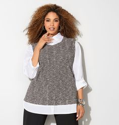 Get the layered look with ease in the plus size Hatchi Vest 2fer Top.