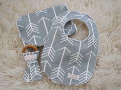 Arrow Bib and Burp Cloth Set-Tribal Bib and Burp Cloth, Arrow Teether, Organic Wood Teether