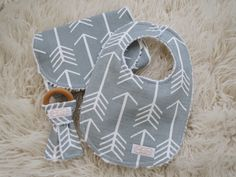 Arrow Bib and Burp Cloth Set-Tribal Bib and Burp Cloth, Arrow Teether, Organic Wood Teether