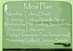 The Nifty Thrifty Lady: Meal Plans: Simple Meal Plans for a whole turkey
