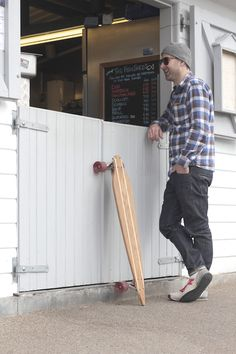 'Ottoman' longboard. This one made from reclaimed church pews.    www.lokilongboards.com