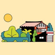 Farm house. Fukui Japan. _ #illustration #drawing #japan #fukui #countryside #house #garden #summer #country #traditional #sunny #hot #illustrated #illustrator #home #日本 #福井 #イラスト #イラストレーター #田舎 #家
