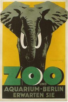 Original vintage poster BERLIN ZOO ELEPHANT GERMANY 1929 #ArtDeco