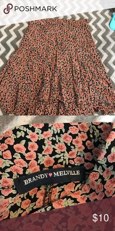 Brandy Melville Floral Skirt This adorable skirt has never been worn. I bought it on poshmark new with tags, and took the tags off without wearing it. Please make an offer, lowballs are accepted! Brandy Melville Skirts