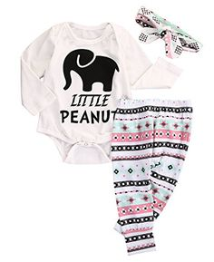 17c0efb43 Newborn Infant Baby Boy Girl Elephant Headband+Romper+Pant Leggings Outfits  Set White): Fashion Brand New,high quality! Material: Cotton Blend  Comfortable ...