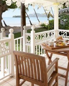 Rendezvous ( Castries, St Lucia ) Gingerbread fretwork adorns the Beachfront Cottage terraces. #Jetsetter #JSBeachDining