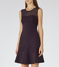 Sahu Berry Lace-detail Dress - REISS