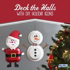 Make a DIY snowman or Santa decoration with Hefty Foam Plates!