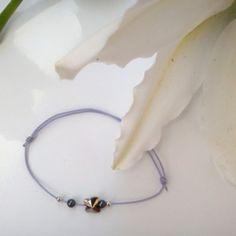 Bracelet à noeuds coulissants couleur lavande - argent, cristal et hématite