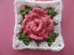 crochet rose granny square