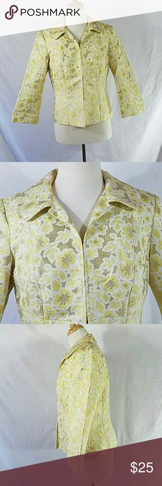 Harold's Metallic Floral 3/4 Sleeve Blazer Yellow & White with metallic yellow 5 hook & eye closures on front NO pockets Bust is 38 inches Sleeve Length is 20 inches Length of blazer is 23 inches Shell is 71% Acetate, 12% Cotton, 8% Metallic & 8% Nylon Lining is 100% Acetate Harold's Jackets & Coats Blazers