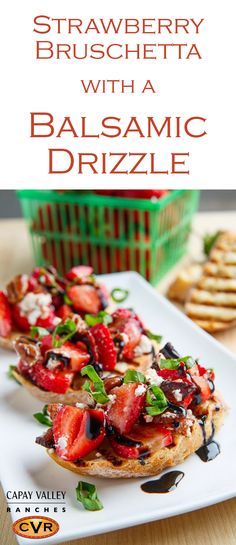 A tasty crostini (and perfect party appetizer recipe!) with strawberries, bacon, candied pecans and creamy goat cheese topped with our Traditional Dark Balsamic Vinegar and fresh basil. This versatile, easy recipe is sure to be a hit at your next summer or holiday party.
