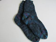 Hand Knit Women's Socks 7 1/2 Ribbed Unique Made in Maine   $32.00 USD