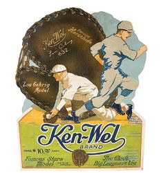 According to a forum on Net54baseball.com, a vintage (c.1920s or 1930s) Ken-Wel Lou Gehrig Model 632 glove sign never existed.  (Good to know, but if you ask me, I still think the sign looks pretty cool.)