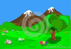 Illustrations vector. Beautiful scenery with tree grass  rock and mountain