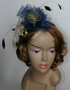 Navy Gold Headpiece - crin fascinator, hair accessories for Ascot, Kentucky Derby, weddings on Etsy, £45.00
