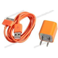 Cheap Mini 2 in 1 Charger Kit US Standard USB Power Adapter + USB Cable for iPhone 4/4S/3GS/3G Orange (ORANGE) | Everbuying.com