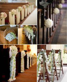 Pew flower deco for church - floor length flower leis OR pom pom bouquets