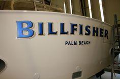 #TRANSOM: Billfisher, Palm Beach #Boat #Transom #BoatTransom  TRANSOM #TECHNIQUE: #CustomBoatLettering    #BOAT #BUILDER #BoatBuilder: #SpencerYachts , #NorthCarolina