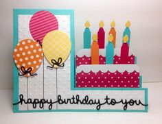 side step card, balloon dies, Wishes Come True (candles); PTI, by beesmom - Cards and Paper Crafts at Splitcoaststampers Tri Fold Cards, Fancy Fold Cards, Folded Cards, Bday Cards, Kids Birthday Cards, Birthday Bash, Birthday Cake Card, Homemade Birthday Cards, Homemade Cards